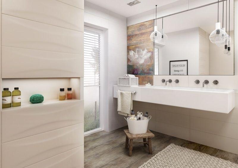modernes bad in beige und creme, bodenfliesen in holzoptik, Esszimmer