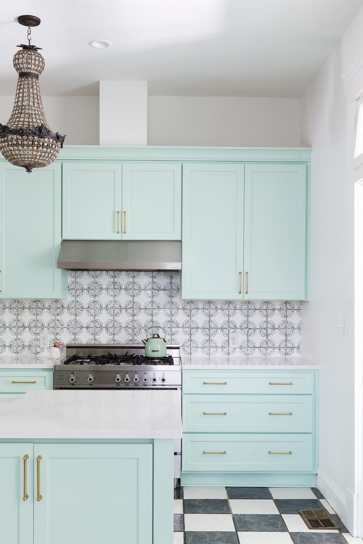 Mint Green Is The Unexpected Kitchen Cabinet Color Your Small Kitchen Needs Small Kitchen Colors Kitchen Cabinets Mint Green Kitchen