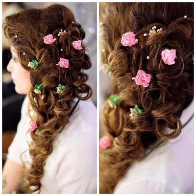 Mehendi Hairstyle Messy Braid For Mehendi With Flowers In Braid Wedmegood Wedmegood Indian Hair Styles Braided Ponytail Hairstyles Flower Girl Hairstyles