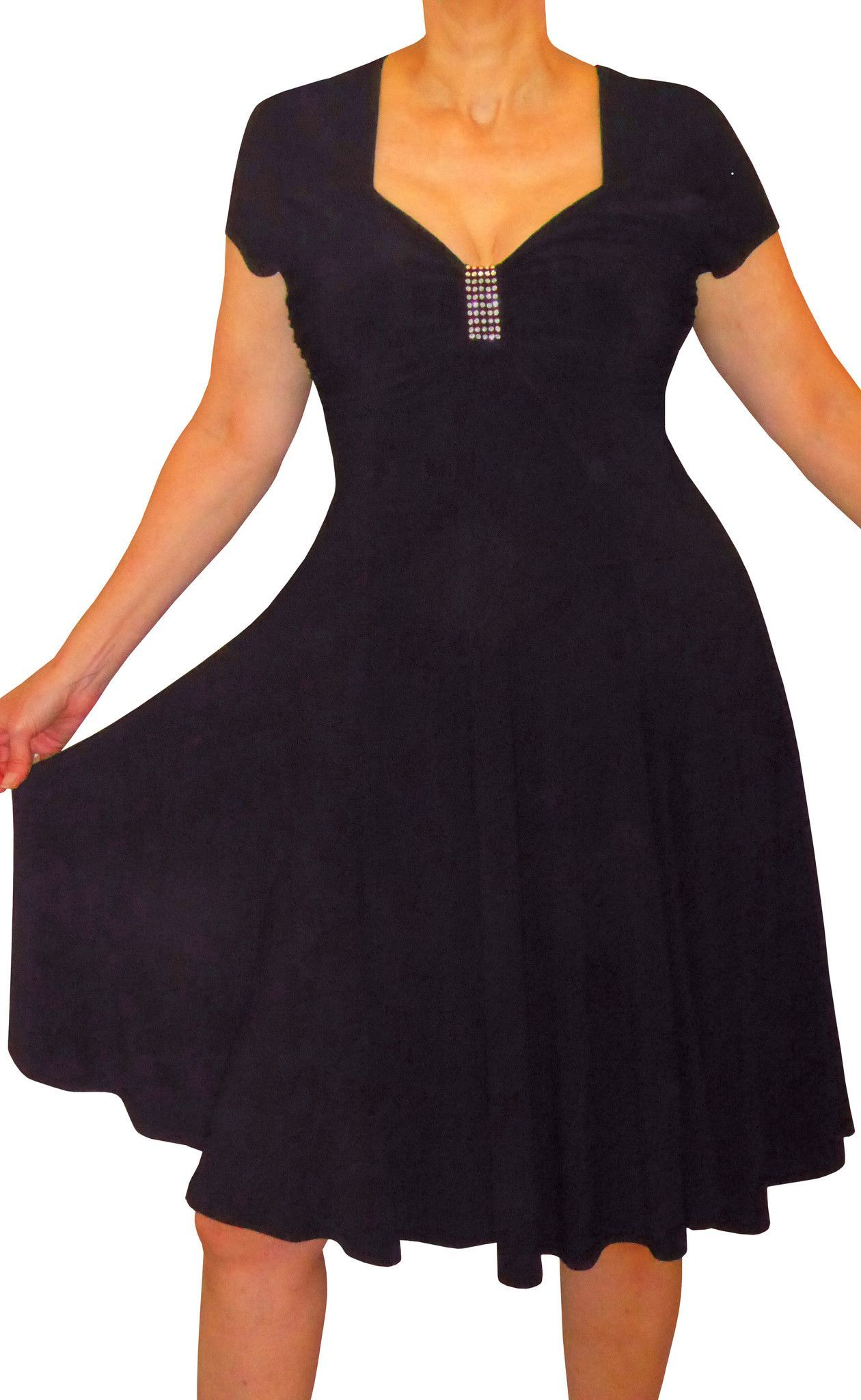 Plus Size Clothing for Women Slimming Empire Waist Black Cocktail ...