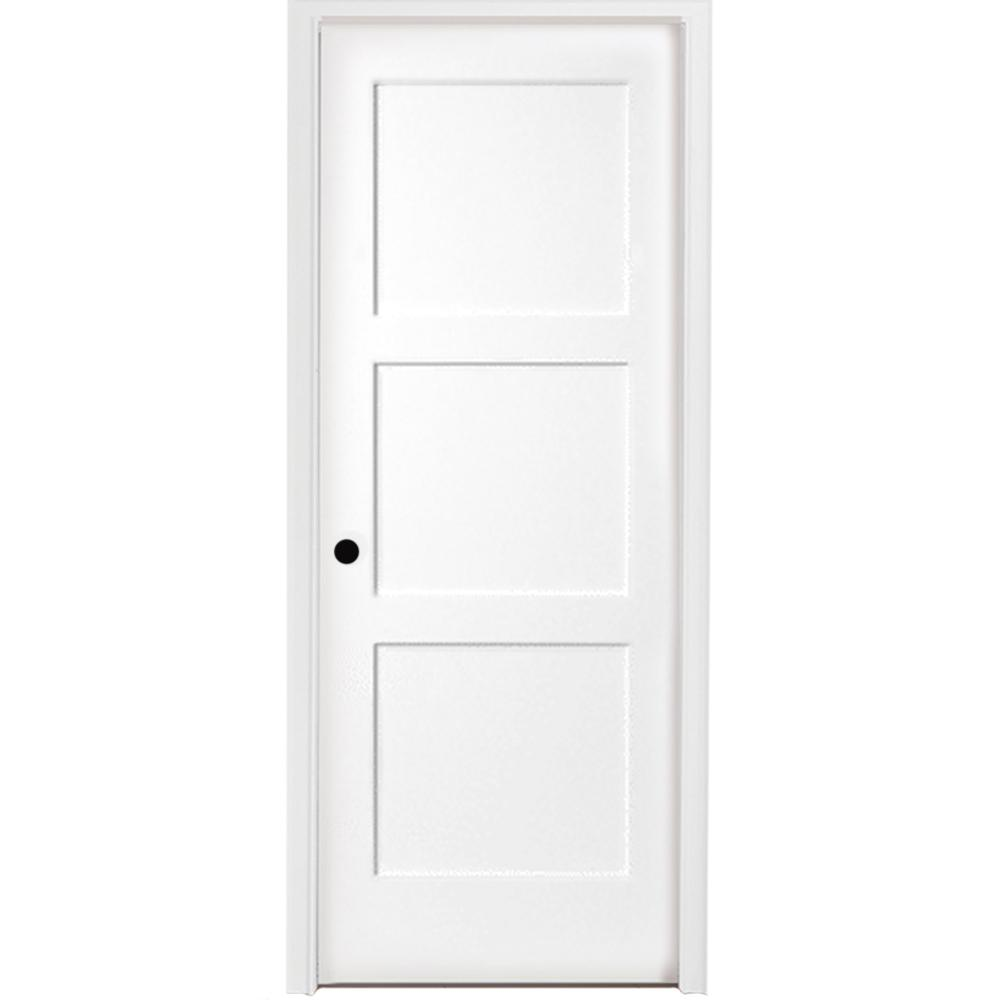 Steves Sons 32 In X 80 In 3 Panel Equal Shaker White Primed Rh Solid Core Wood Single Prehung Interior Door With Bronze Hinges N64m3nnnlerhb The Home Depo In 2020 Prehung