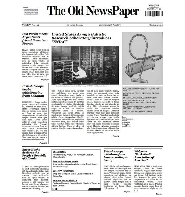 The Old NewsPaper WP theme v1 by lysergicstudio Känsla - old newspaper template