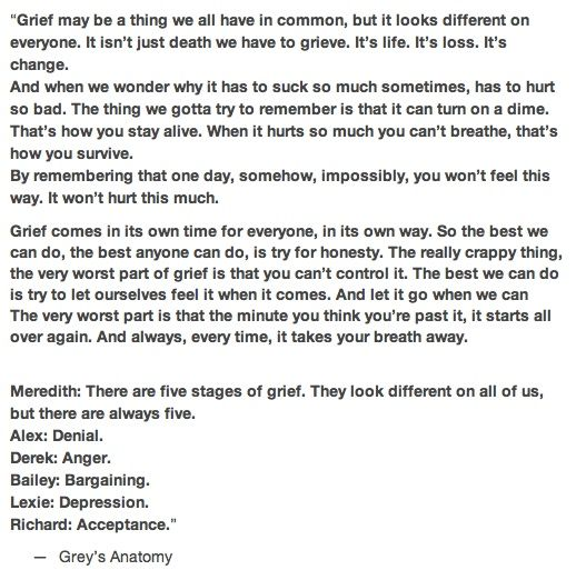 grey anatomy quote about grief and always every time it