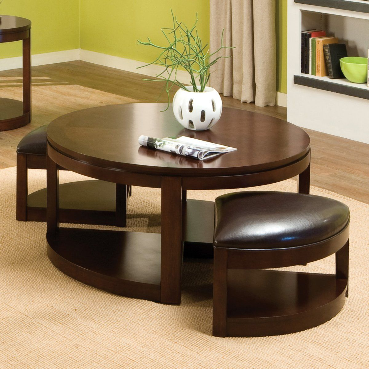 Alluring Round Coffee Table Idea With Round Wood Top And Wood Base