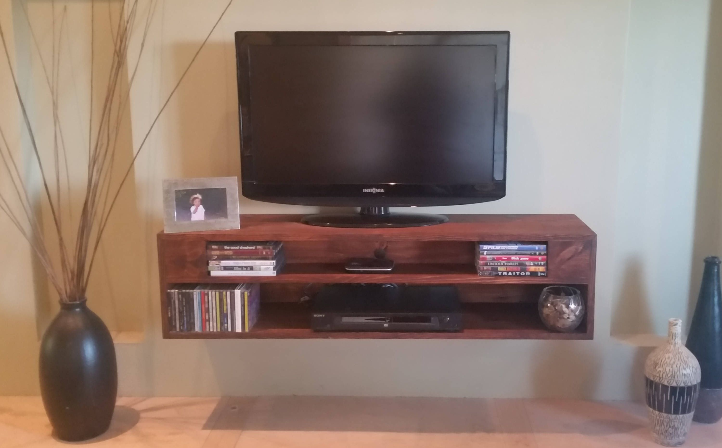 Floating Tv Stand Console 30 Inch To 72 Inch A V Component Shelf Choice Of Stain Color Cus Floating Tv Stand Floating Shelf Decor Rustic Floating Shelves