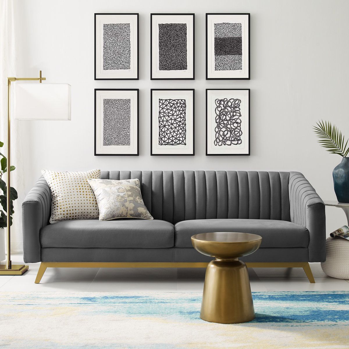 Vinton Velvet Sofa Retro Modern Living Room Gold Living Room Sofa Design