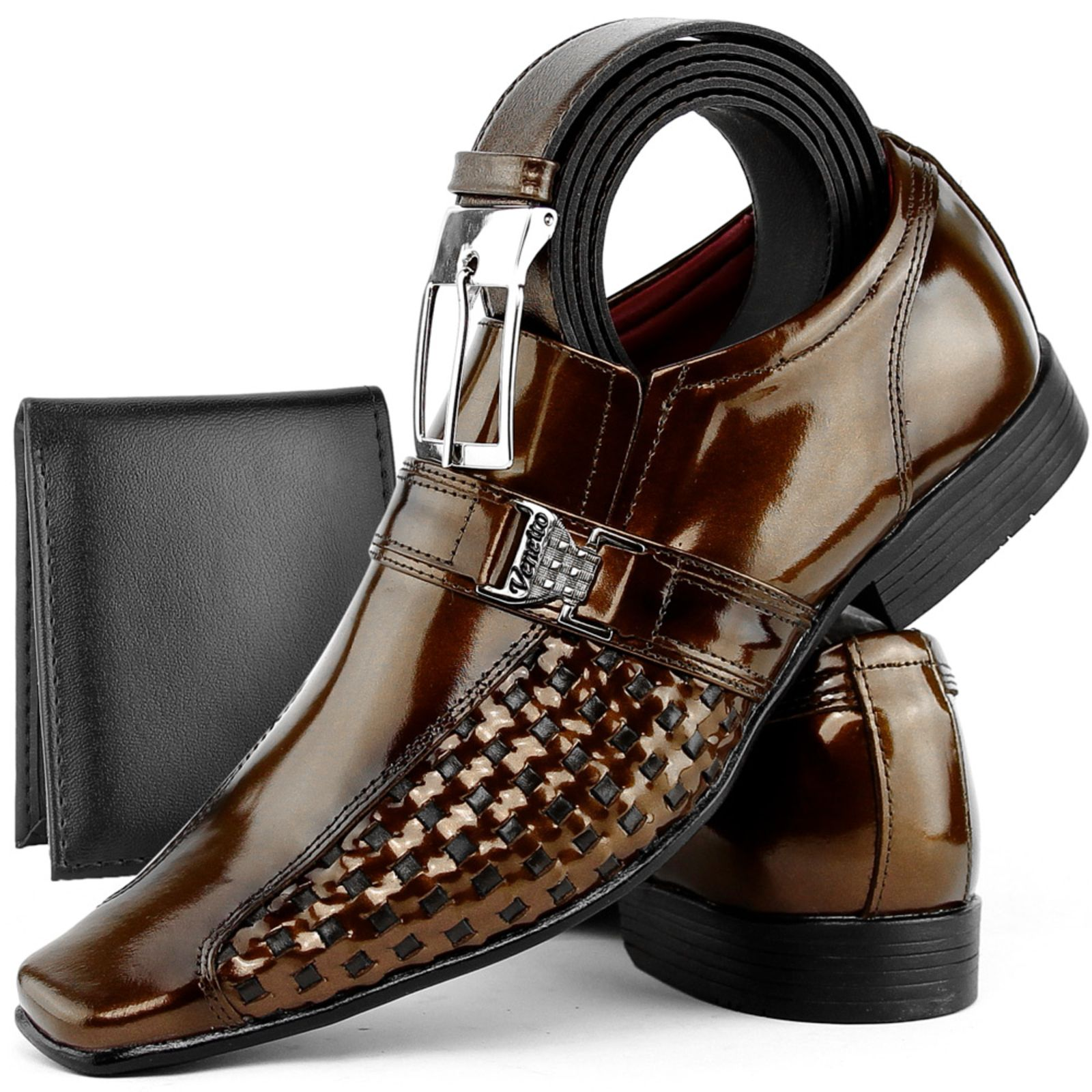 ab2e08f4c Kit Sapato Social Couro Venetto Verniz Marrom Sapato Social Masculino  Couro, Sapatos Formais, Cinto