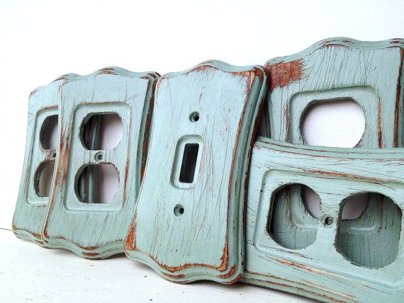 Set Of 5 Turquoise Distressed Shabby Chic Wooden Outlet/Light Switch Covers