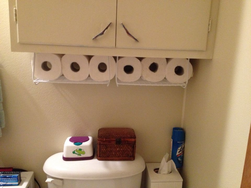 Easy under the cabinet storage. Can be used for toilet paper, cosmetics, feminine products, etc...