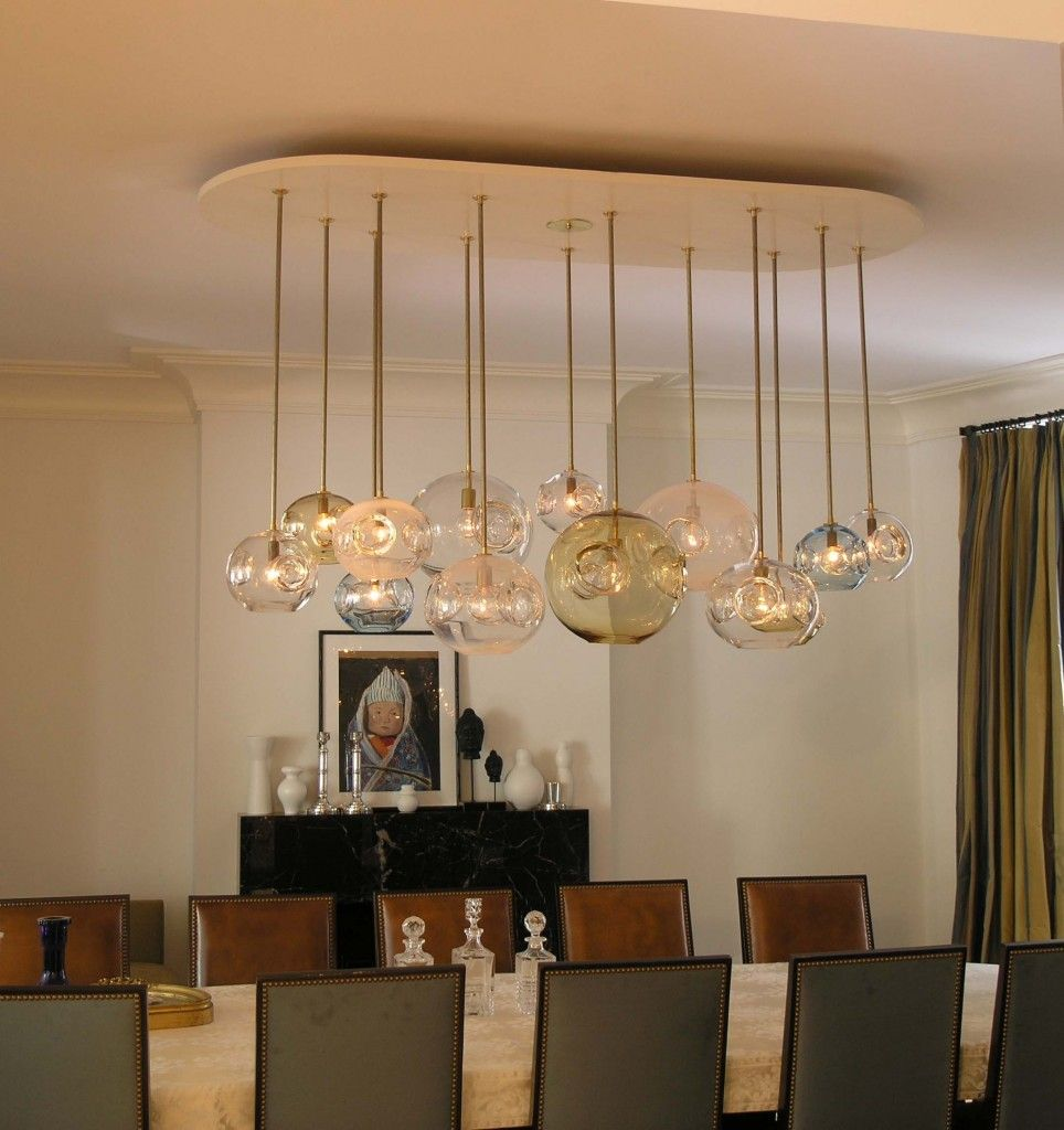 Creative Track Lighting Pendants With Dining Table And Chairs Also White Wall