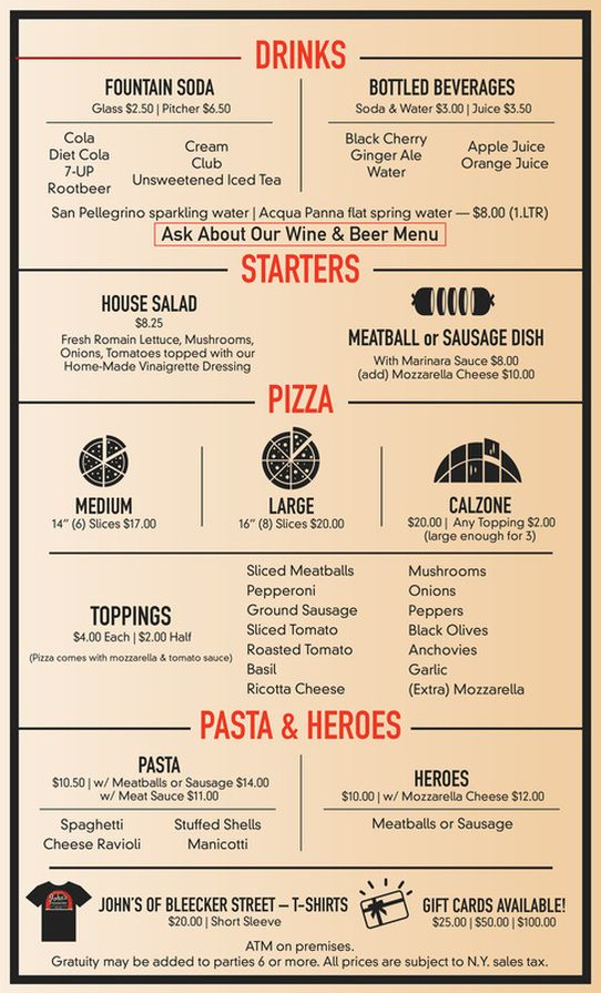 John S Pizza Beer Menu Unsweetened Iced Tea Ginger Ale