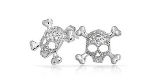 Cz Pave Sterling Silver Stud Skull And Crossbones Earrings White Cubic Zirconia Ebay