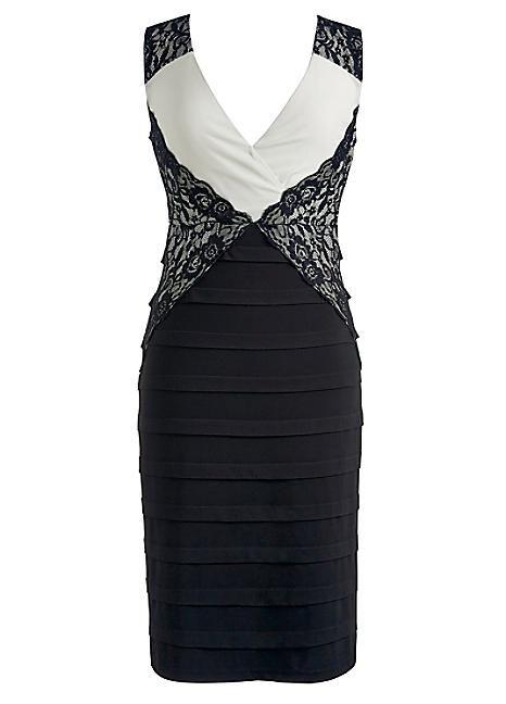Sleeveless Lace Panel Shift Dress