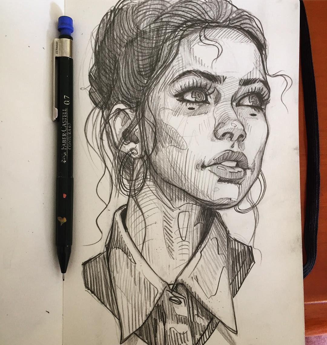 Random sketch girl sexy portrait pencil illustration drawing moleskine ✍ ✍ ✍️
