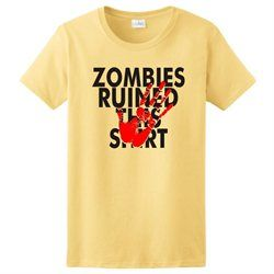 047fca2c8 Zombies Ruined This Shirt Funny Halloween Walking Dead Costume Ladies T- Shirt