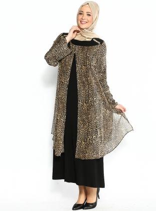 Yakasi Suslemeli Elbise Sari Leopar Mirabella Elbise Modelleri Moda Stilleri Batik Elbise