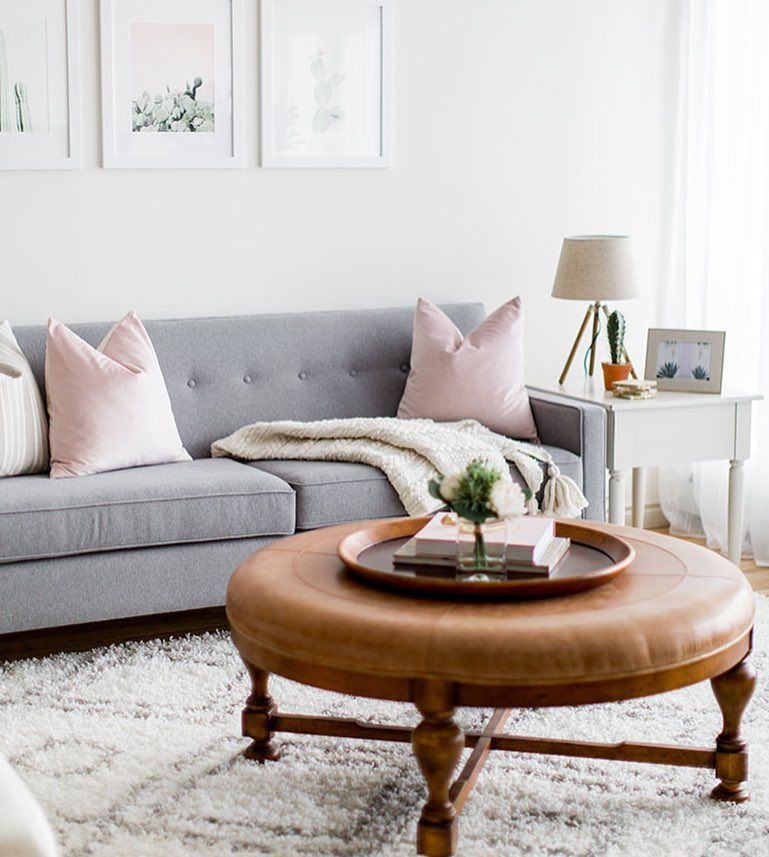 Our Blush Pink Velvet Pillows On Soft Grey Sofa ...but How