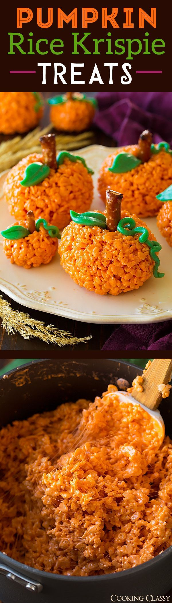 Pumpkin Rice Krispie Treats - such a fun and easy fall treat! My ...