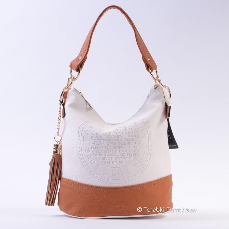 5034093fa34d8 Nowy model  torebki z pieczątką - kolor biało-brązowy (jasny odcień Camel)  Idealna na lato