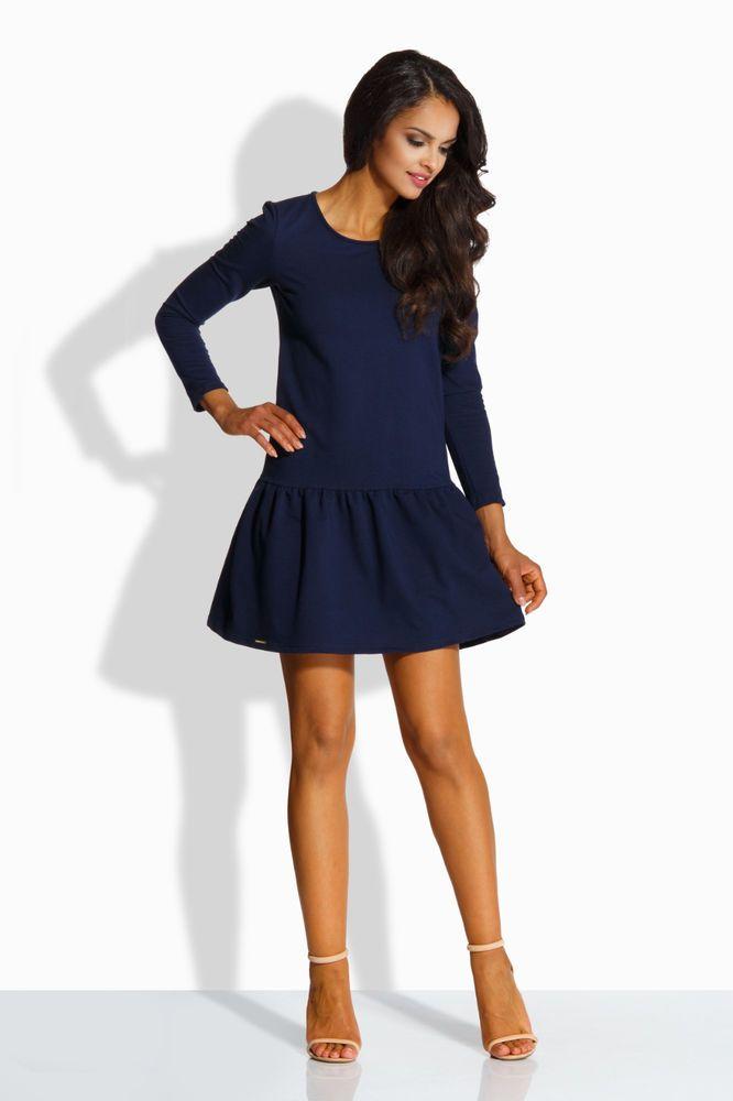 83eb1c48fba Robe bleu marine droite courte évasée sexy femme manches longues LEMONIADE  L218