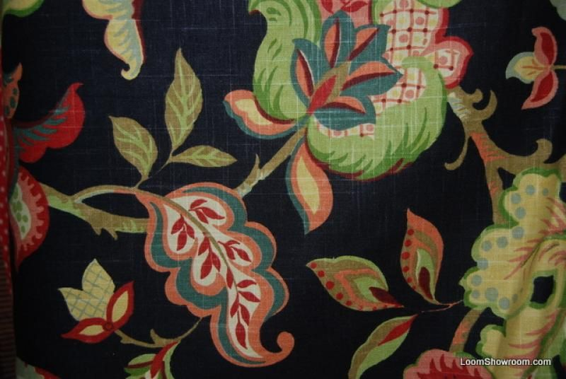 Floral Large Scale Bold Flower Print Linen Texture Heavy Weight