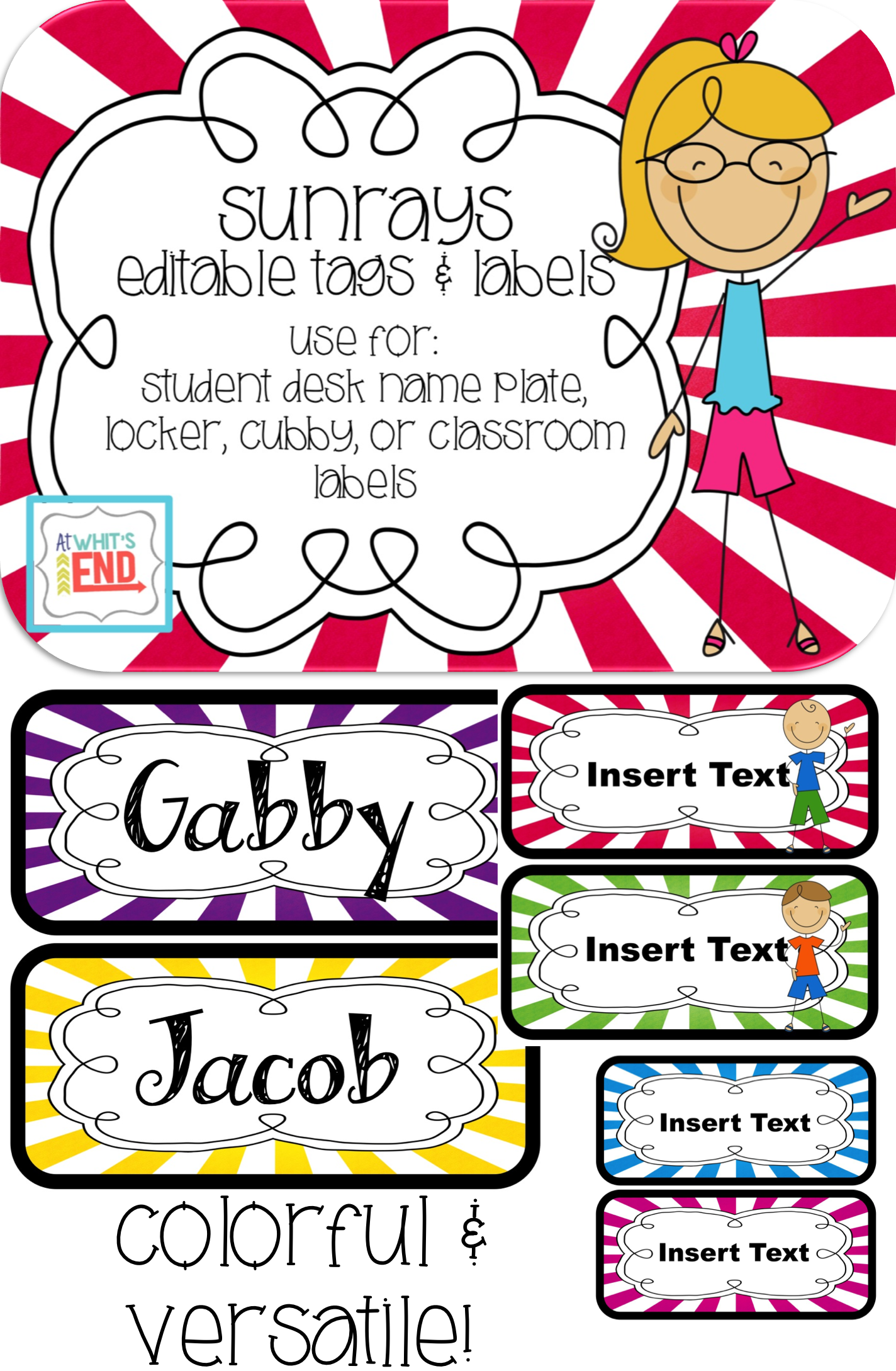 Sunrays Editable Tags Amp Labels Classroom Printables Back To School 1st Grade Fun