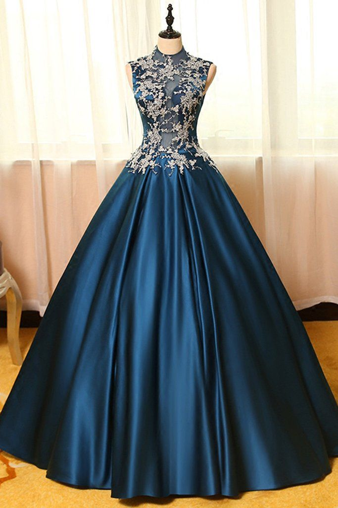 c3e7769ed7 Blue satins lace applique round neck see-through A-line long prom dresses