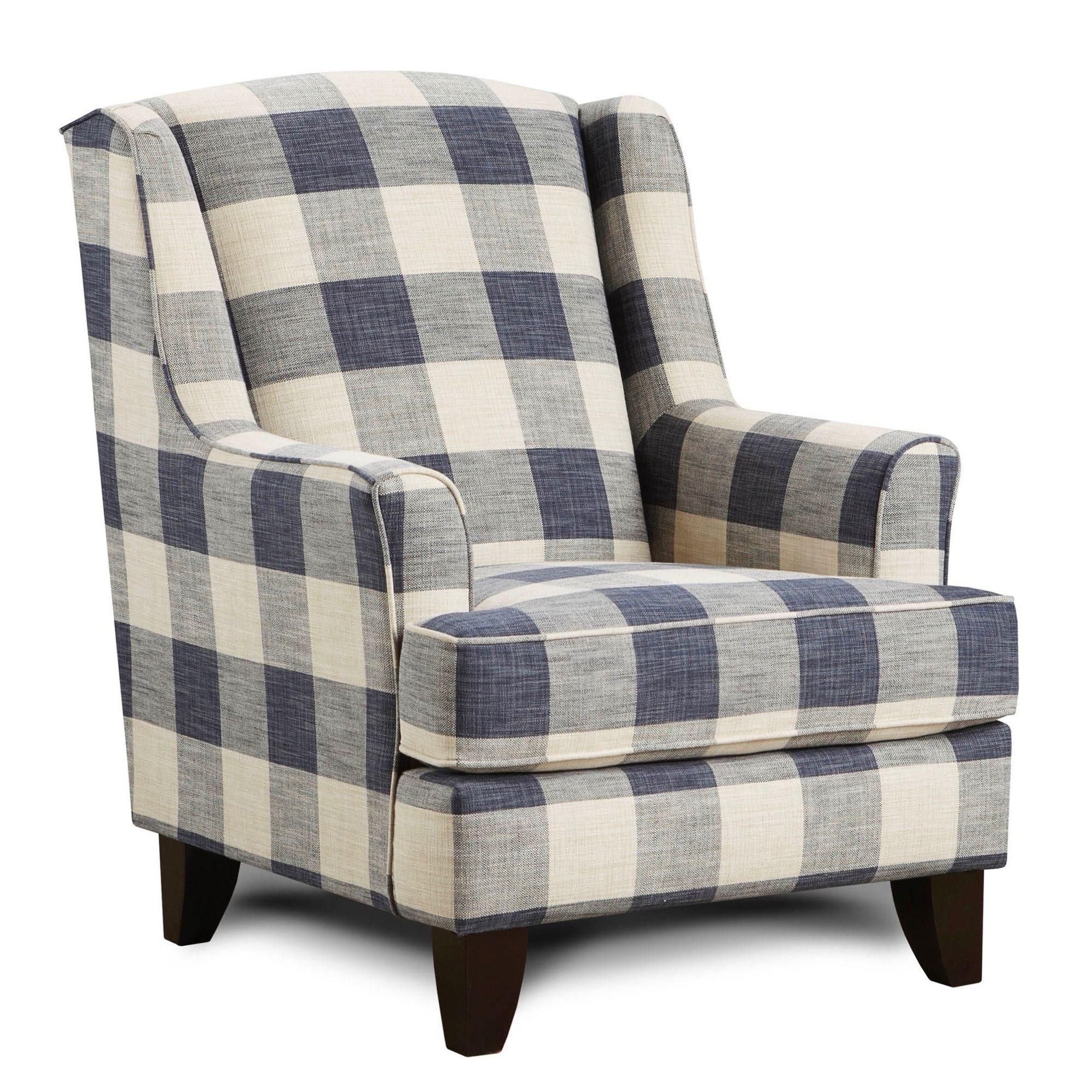 Yucatan Indigo Accent Chair Blue Polyester Wingback Chair