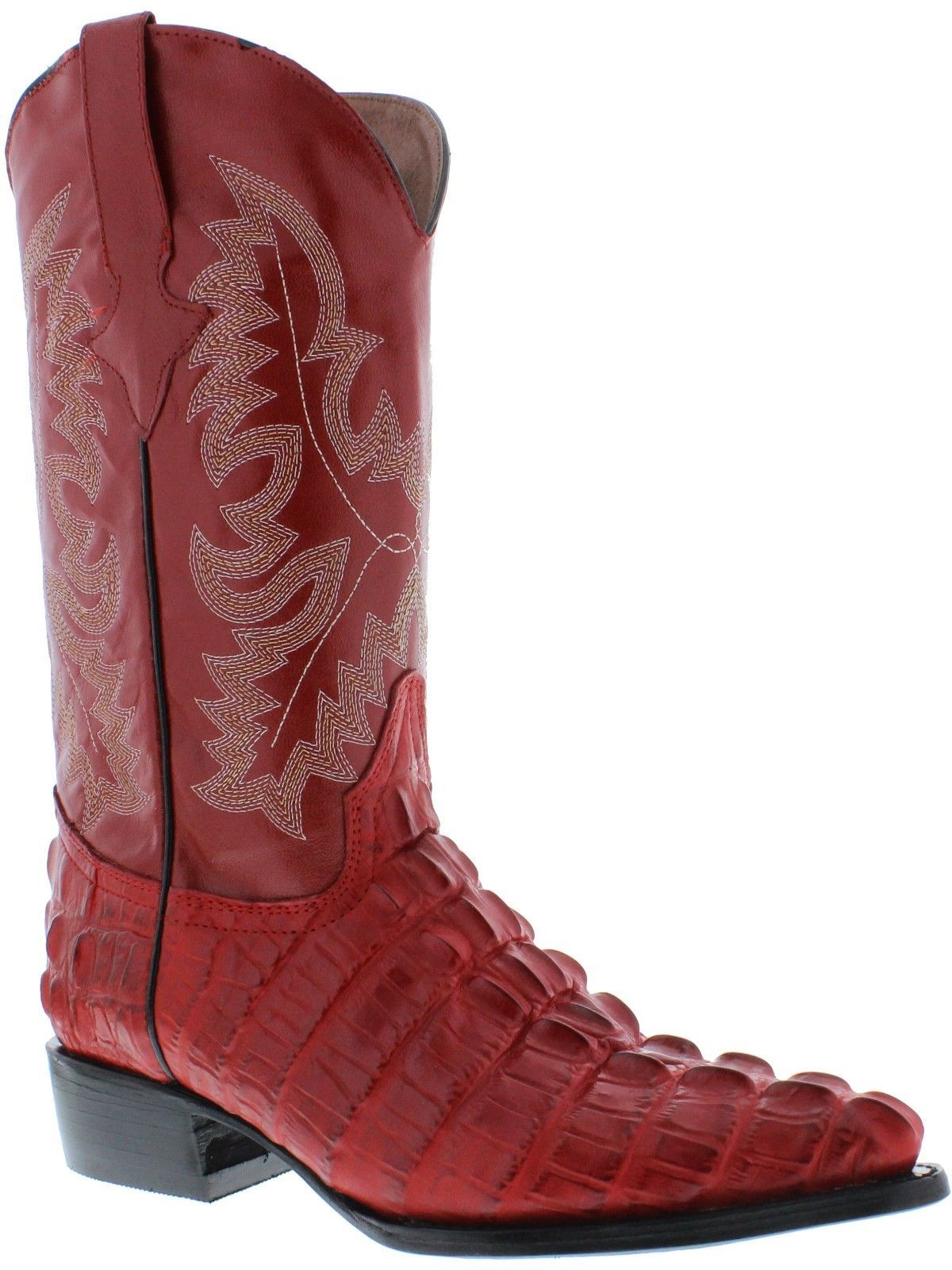 Details about Men's red leather crocodile alligator tail cowboy ...