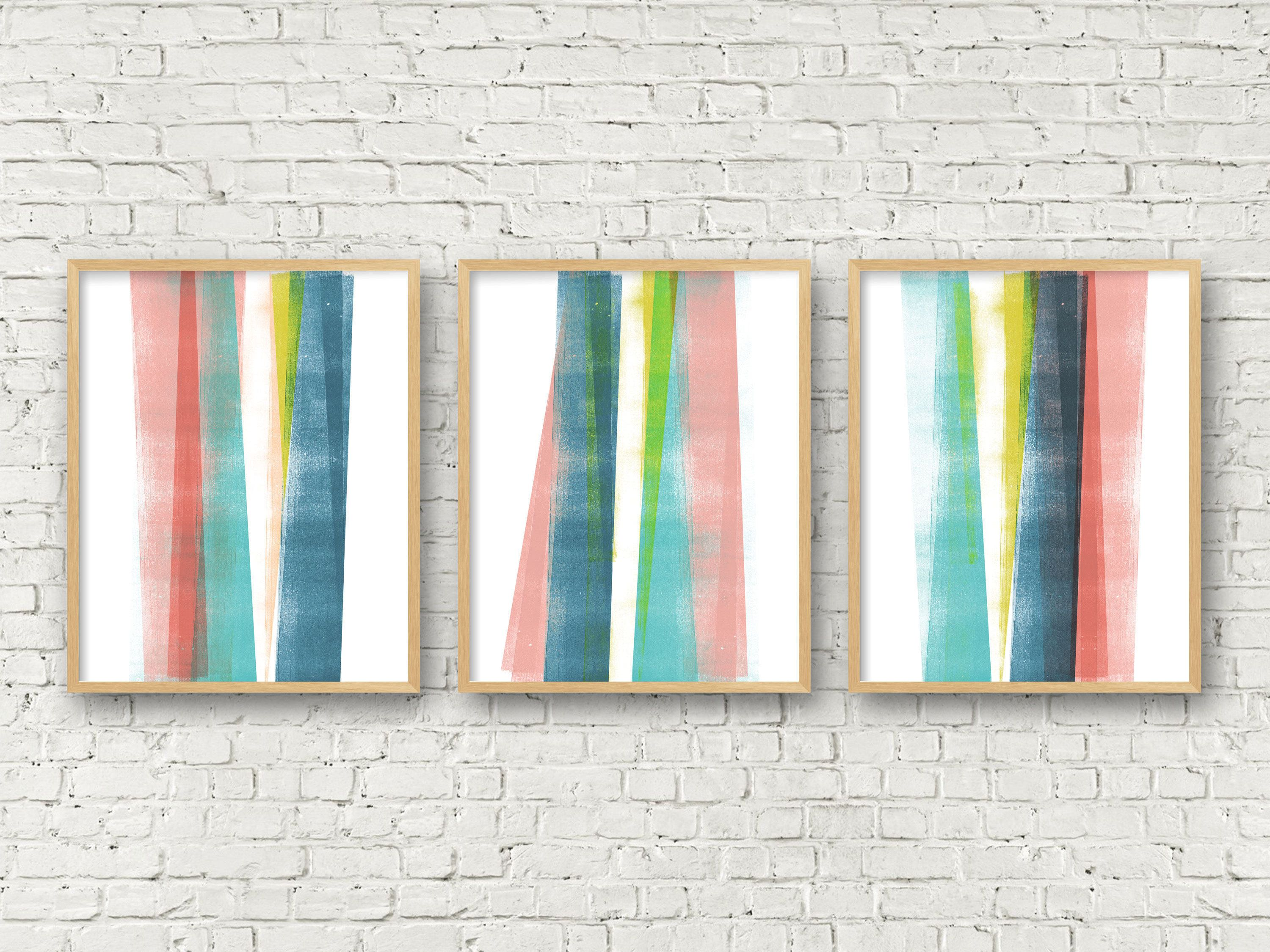 abstract art colorful wall art triptych wall art set of 3 prints