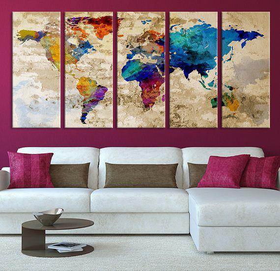 Large world map wall art canvas print navy blue watercolor kitchen large world map wall art canvas print navy blue watercolor gumiabroncs Gallery
