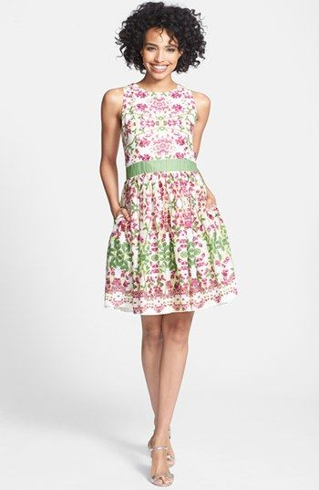 Taylor Dresses Floral Print Cotton Fit & Flare Dress available at #Nordstrom