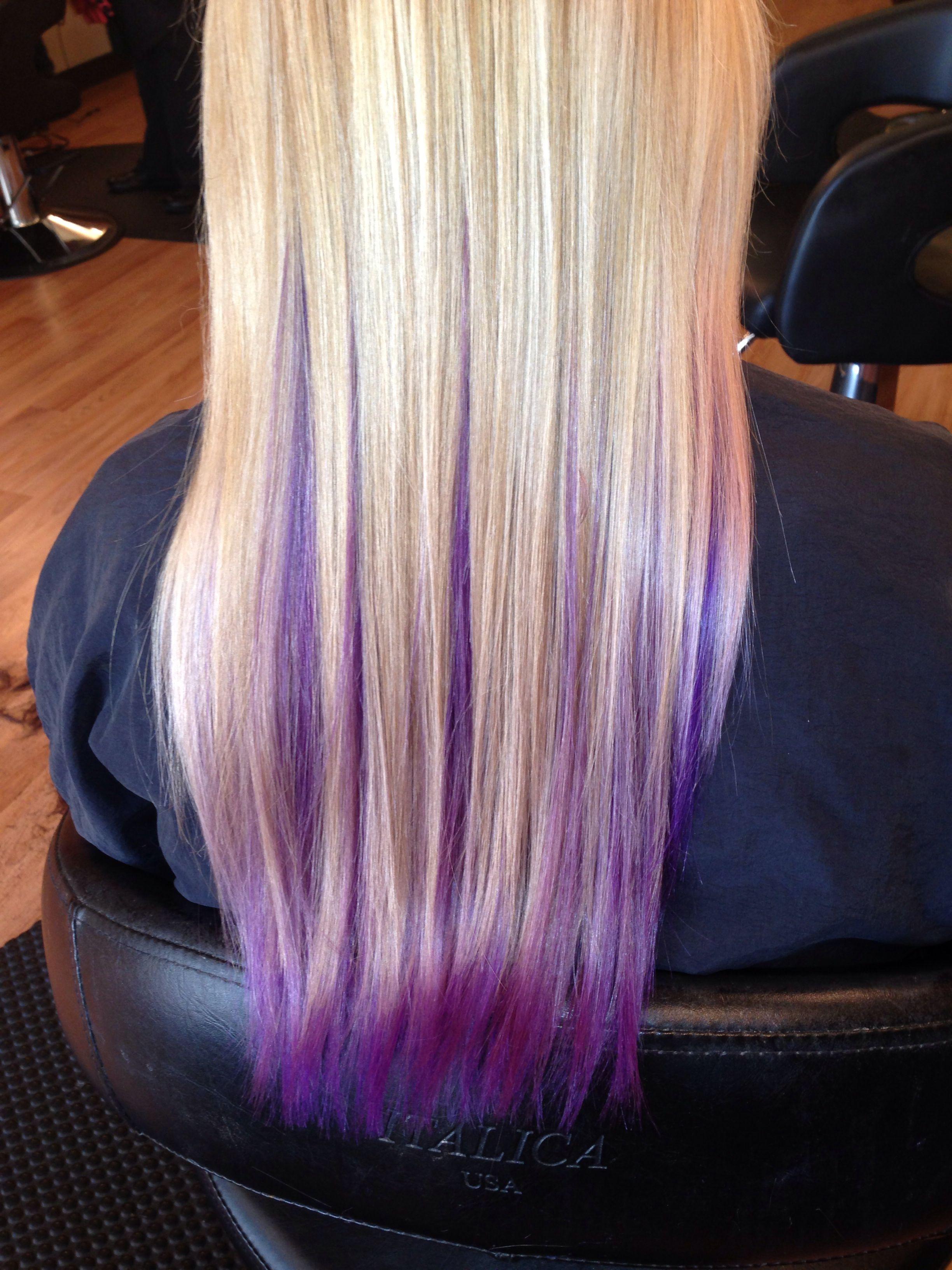 Blonde With Purple Underneath Purple Hair Streaks Purple