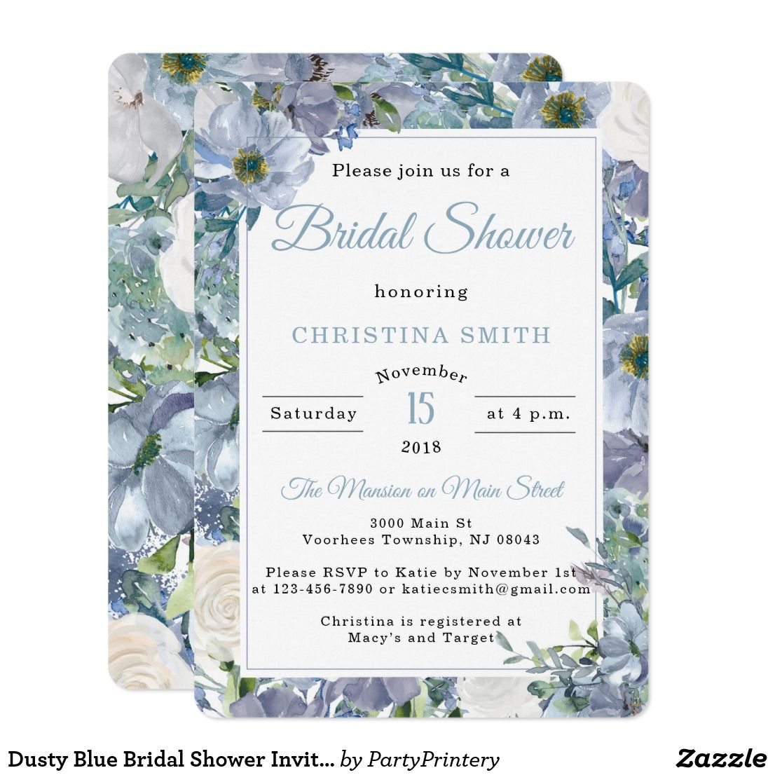 98844a788cce Dusty Blue Bridal Shower Invitations