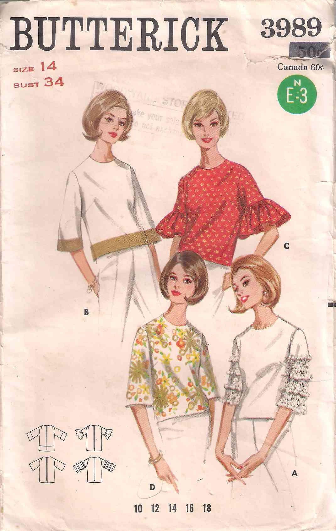 23ab995c3f64c6 Butterick 3989 sewing pattern, 60s sixties 1960s blouse dressmaking pattern,  size 14, retro blouse pattern, vintage blouse pattern, beatnik by  Rethreading ...