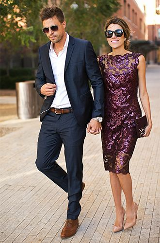 8684ebef2e1a Stylish couple in a holiday look. Men s Suits - love this look for Warren   amp  this dress for me!