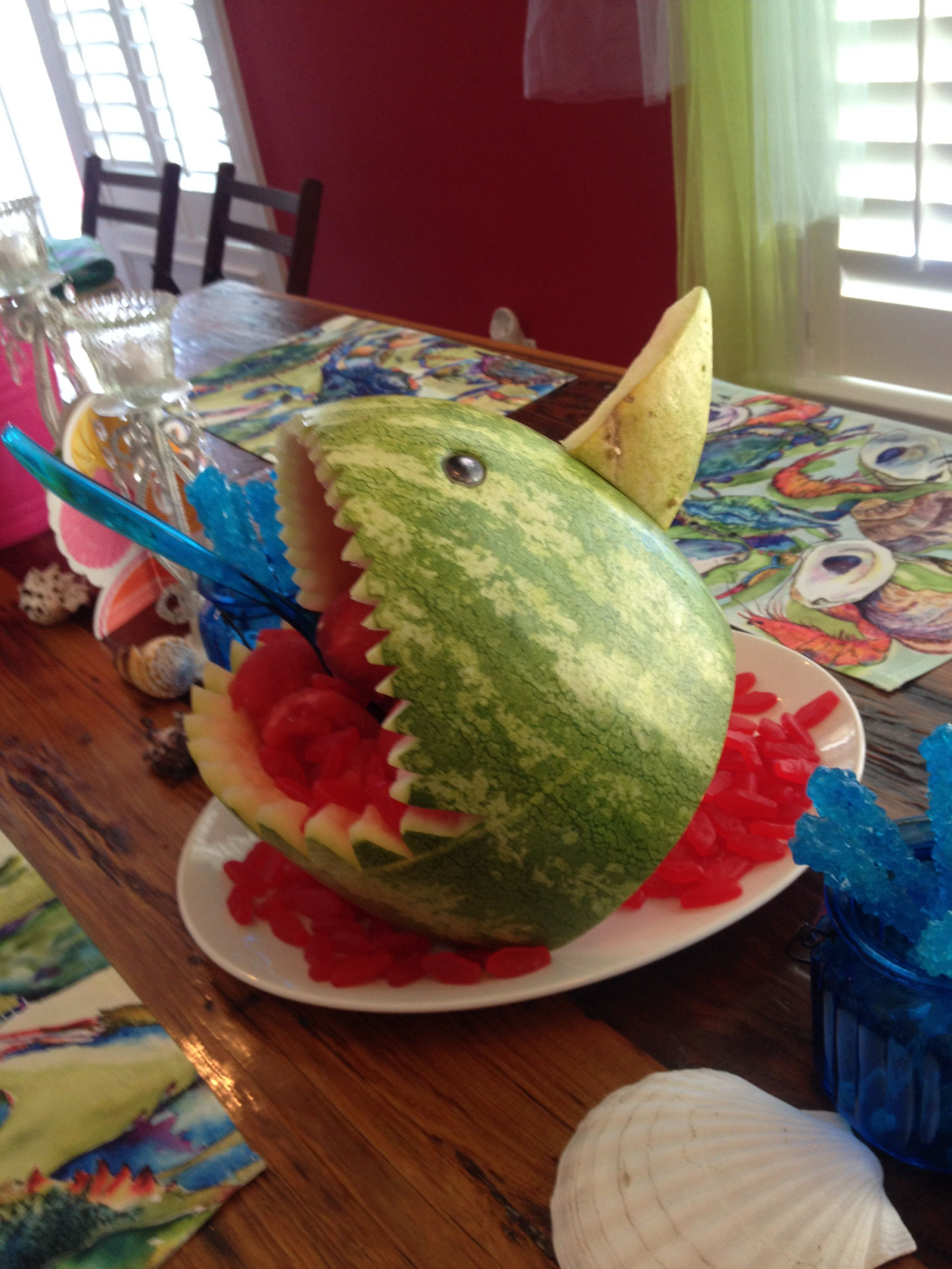 Watermelon Shark carved by Joe Spadaro the eyes are marbles colored ...