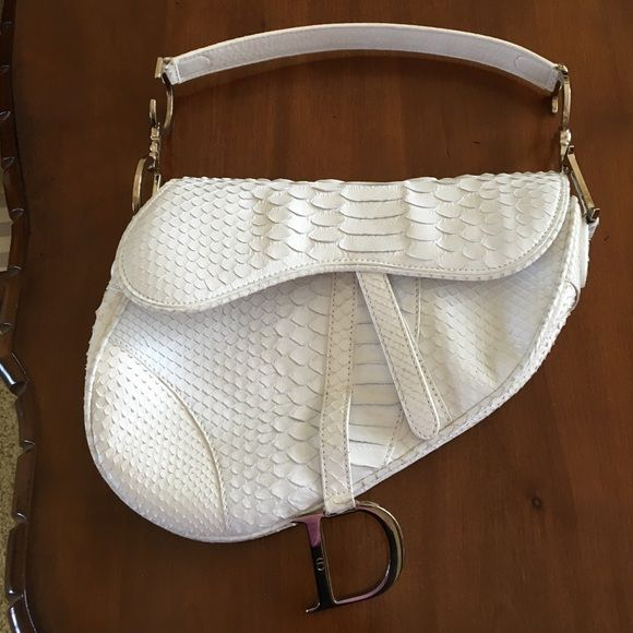 Christian Dior white Python saddle bag Beautiful limited edition authentic Christian  Dior white Python saddle bag 2881b7cdc6e7d