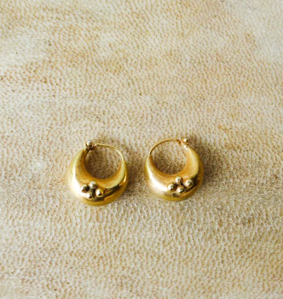 Golden Chubby Hoop Earrings Fat Hoops Small Chunky Gold Plated Indian Style Boho Gypsy Tribal Gift