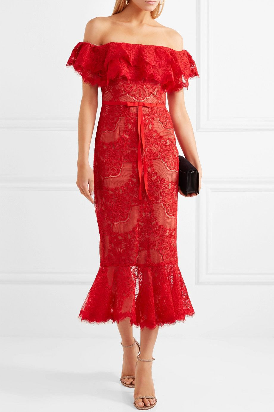 Marchesa notte offtheshoulder ruffled corded lace midi dress