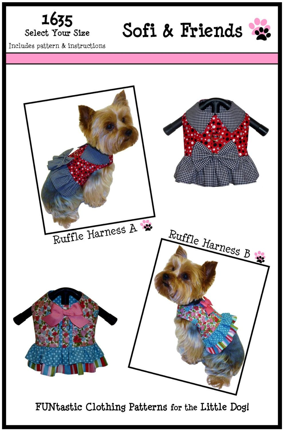 Ruffle Dog Harness Sewing Pattern 1635 Dog Clothes Patterns
