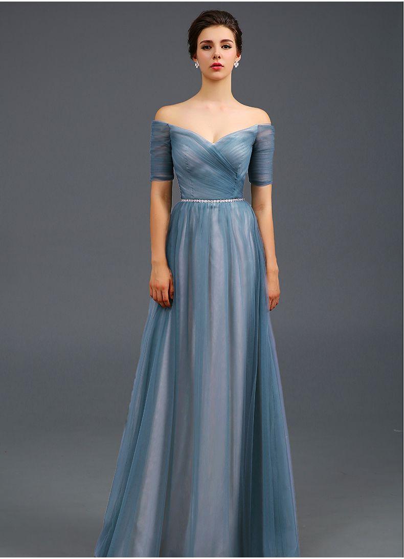 Light blue off the shoulder evening dress a line formal dress