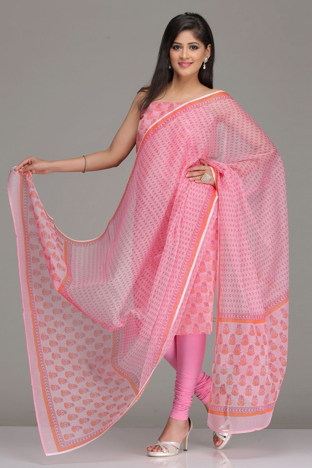 Pink Unstitched Kota Kurta & Dupatta Set With Dark Pink And Orange ...