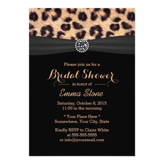 Chic bright diamond and leopard print bridal shower 5x7 paper chic bright diamond and leopard print bridal shower 5x7 paper invitation card filmwisefo Image collections