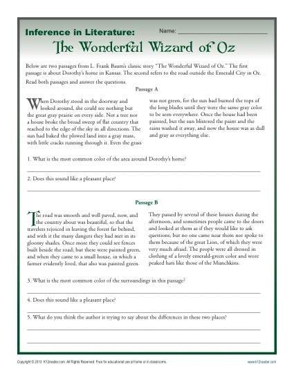 Inference In Literature The Wizard Of Oz Rdg Strategies Reading