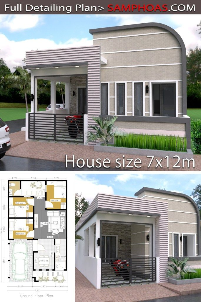 One Story Home Design Plan 7x12m Samphoas Plan Home Design Plan House Design Sims House Plans