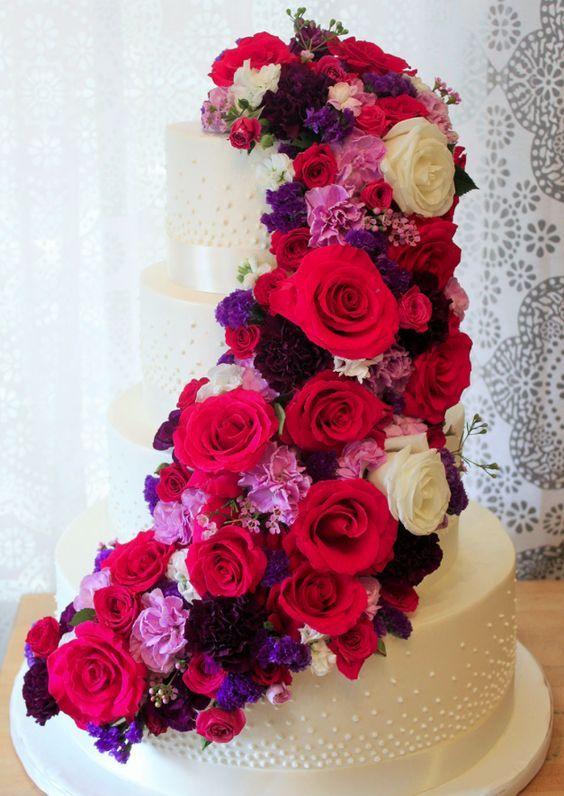 Red pink and white flower covered wedding cake white wedding red pink and white flower covered wedding cake modwedding mightylinksfo