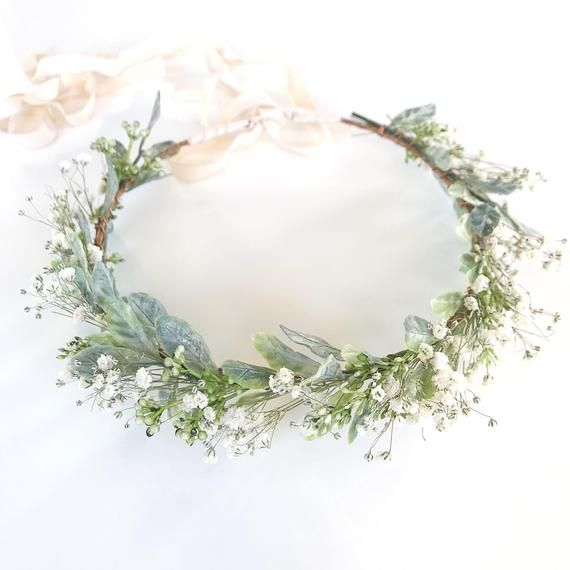 Baby's Breath Crown- Greenery Crown- Dried Flower Crown- Hair Vine- Sage Headband- Bridal Crown- Organic Wedding Headpiece- Green Halo #27piecehairstyles