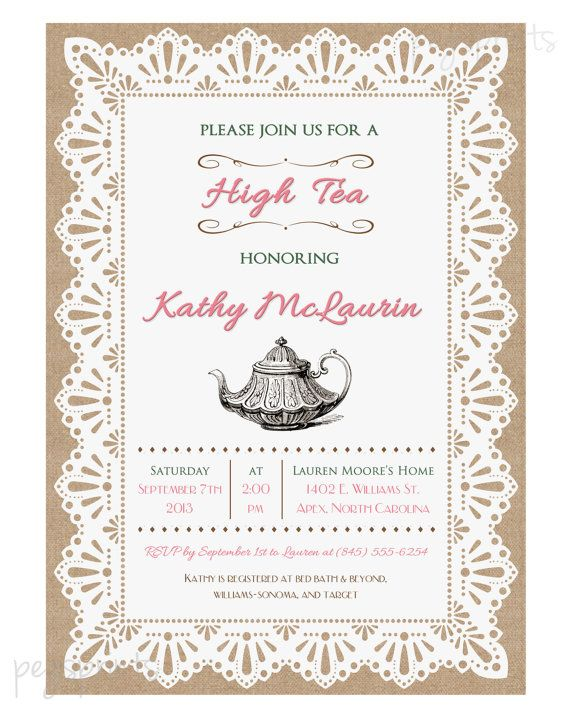 Lace Burlap High Tea Invitation Tea Party Printable by pegsprints