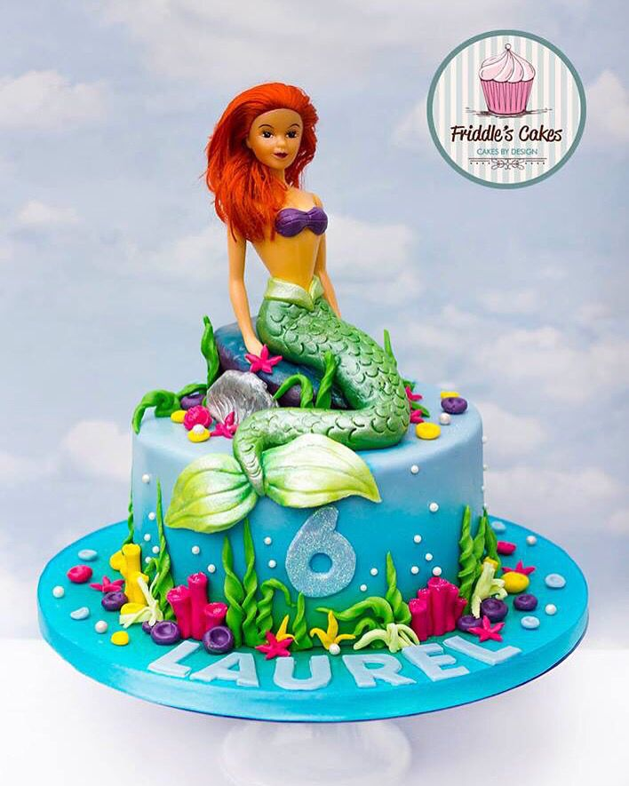 Disney aerial mermaid on rocks water themed birthday cake Paytons
